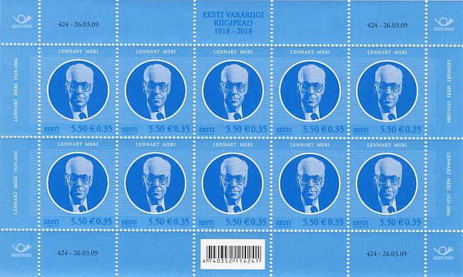 697aae063b1 Eesti Vabariigi riigipead. Lennart Meri -- 424-26.03.09 - filateelia ...