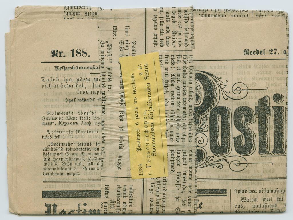 0932a-Ajaleht-Postimees-panderoll-Tartu-Helsinki-1899-postiajalugu-ee
