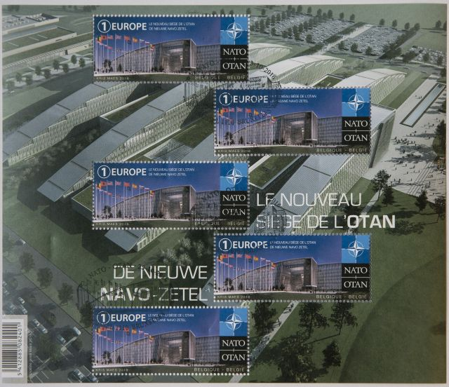 New Belgian postal stamp showing the new NATO Headquarters presented and sold at NATO headquarters