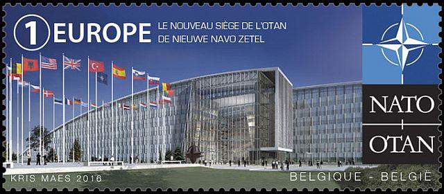 Belgia postmark NATO tulevase peakorteri pildiga